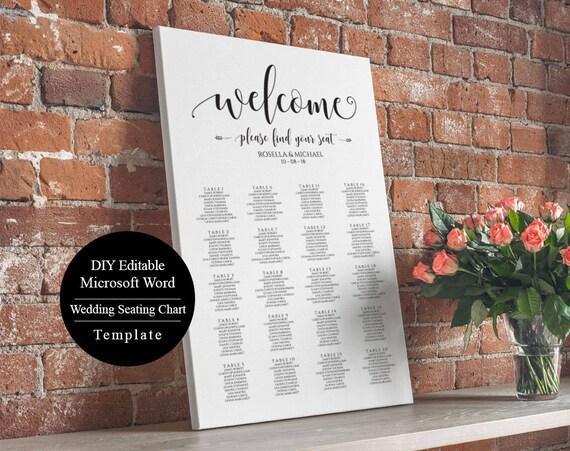 Editable Wedding Table Seating Chart Poster Sign
