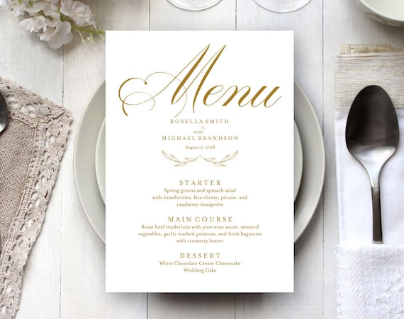 PDF-DIY Menu Template Digital File Editable Text Instant Download Gold Printable Menu Card Template Rustic Wedding Menu WPC/_844