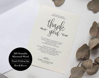 DIY Thank You Sign, Wedding Thank You Template, Thank You Printable, Personalized Wedding Table Thank You, Reception Decor, MSW25