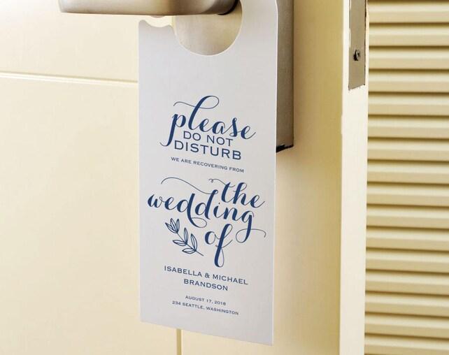 Navy Blue Wedding Door Hanger Printable Template Please Do Not Disturb