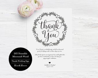 Wedding thank you Card Template, Printable Wedding thank you cards, Wedding thank You notes,Printable Thank you,Wedding Thank you sign MSW27