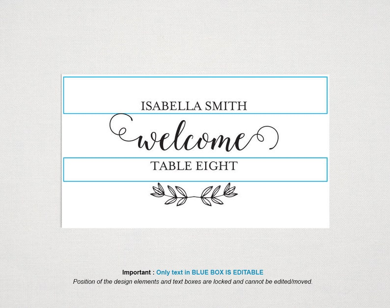 Wedding Place Card Template Place Cards Printable Name Cards for Wedding Table Cards WPC/_1245 Calligraphy Rustic Wedding Place Cards