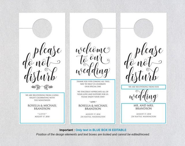 Wedding Door Hanger Printable Template Please Do Not Disturb Tags WPC 730
