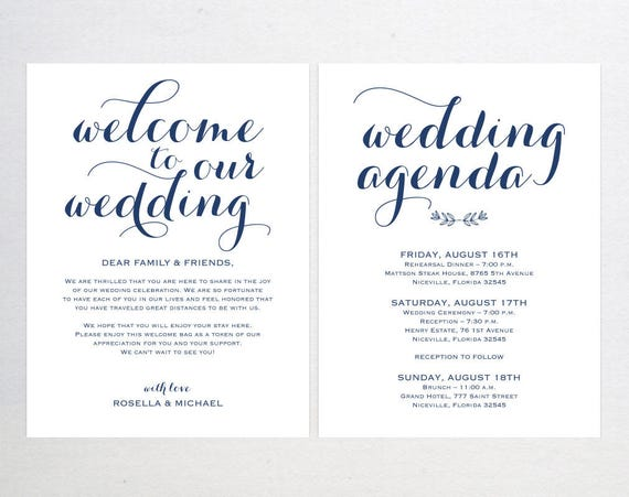 Navy Blue Wedding Welcome Bag Note Welcome Bag Letter Etsy
