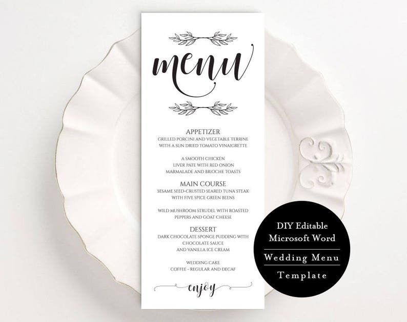 "Editable Wedding Menu, DIY Dinner Menu, 3 5""x9"" Menu Template, Instant  Download, DIY Wedding, Printable Wedding Menu Template, MSW240"