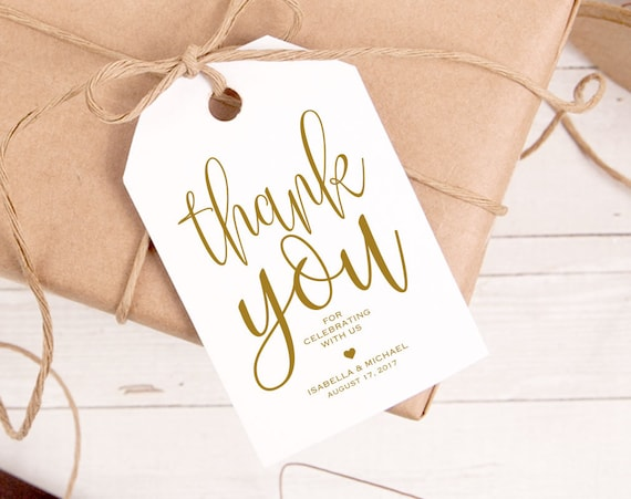 gold thank you tag gift tags wedding thank you tags wedding etsy