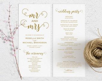 Gold Wedding Program Template, Wedding Ceremony Program Printable, Wedding Program Pdf, Wedding Invites Template Download, Wedding Downloads