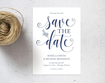 Navy Blue Save the Date Template, Save the Date Cards,Save the Date Printable,Rustic Save The Date, Wedding Template, PDF Template, WPC_1027
