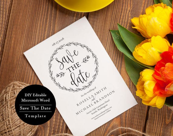 printable save the date card save the date template instant etsy