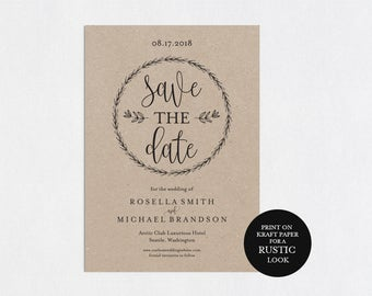 Save the Date Template, Save the Date Cards, Save the Date Printable, Rustic Save The Date, Wedding Template, PDF Template, WPC_618SD2A