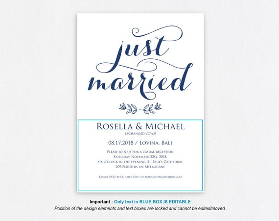 Wedding template Just married announcement We eloped wedding Elopement reception Elopement invitation template download WPC/_1181