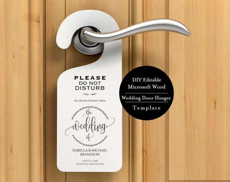Shhhh Instant Download Wedding Door Hangers Do Not Disturb Printable Diy Editable Welcome Message Msw252