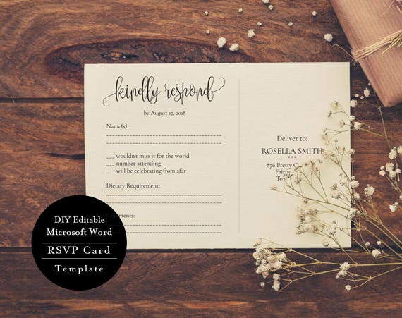 rsvp card template edit print instant download diy etsy