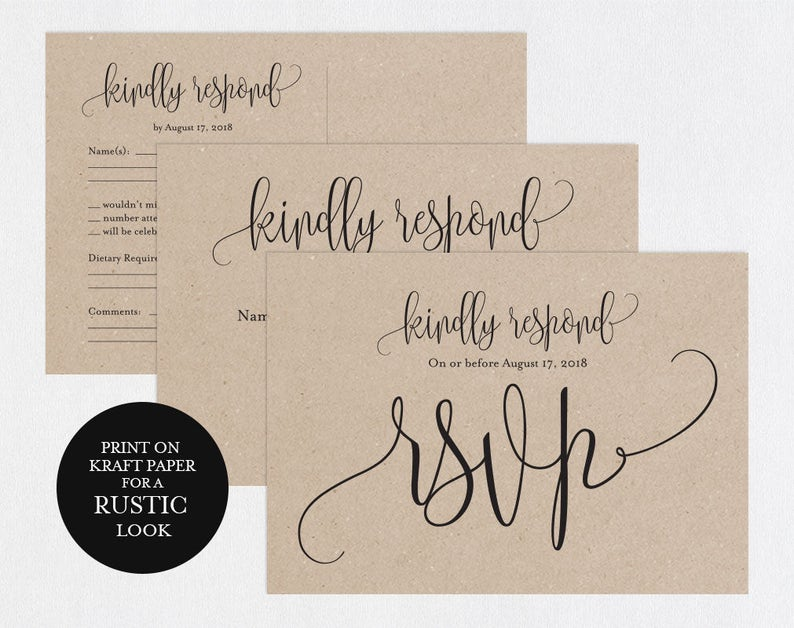 RSVP postcards templates, Wedding rsvp cards, rsvp online, wedding rsvp  postcards, kraft rsvp card,RSVP Template, RSVP Postcard, WPC_649SD2A