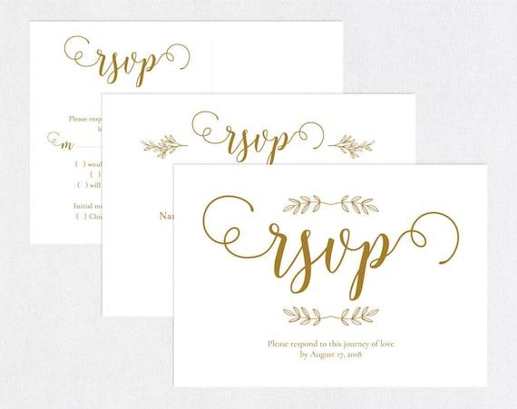Gold RSVP Postcards Templates Wedding Rsvp Cards Rsvp Etsy