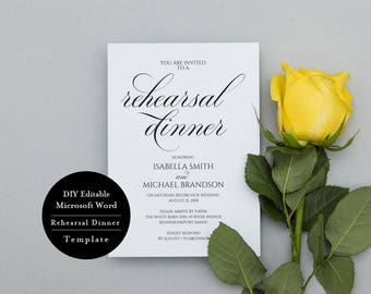Wedding Rehearsal Template, Rehearsal Dinner Invitation, Template Modern Rehearsal Dinner, Template Calligraphy, Invitation, MSW322