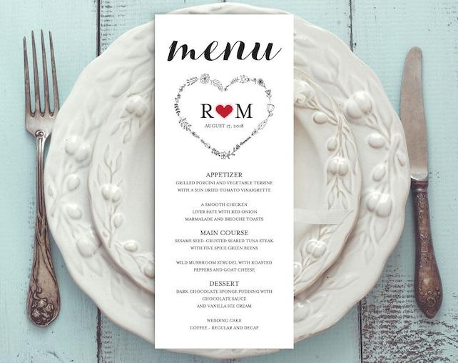 Printable Menu Card Template, Editable Text, Instant Download, Digital File, PDF-DIY Menu Template, Rustic Wedding Menu, WPC_717