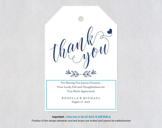graphic regarding Thank You Printable Tag named Armed service Blue Thank Oneself Tag, Reward Tags, Marriage Thank On your own Tags