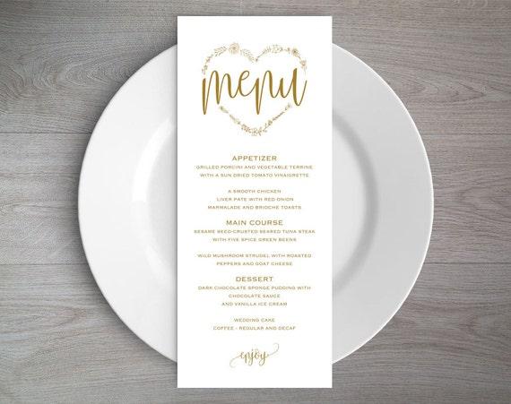gold wedding menu template rustic wedding menu menu etsy