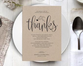 Wedding Thank You Printable Template, Thank You Card Template, Printable Thank you, Thank You Template, Thanks Template, WPC_25SD2A
