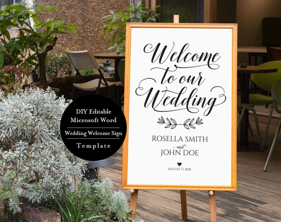 Wedding Signage Printable Welcome To Our Wedding Sign Etsy