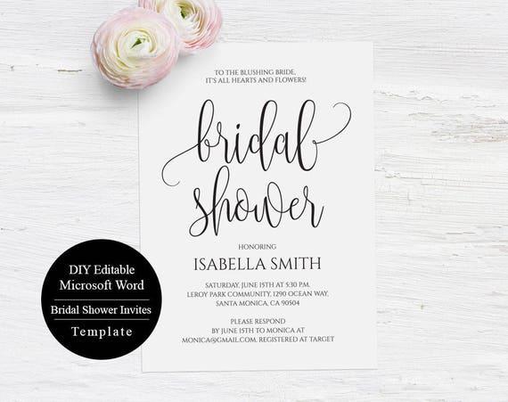Wedding Shower Template Bridal Shower Invitation Template Etsy