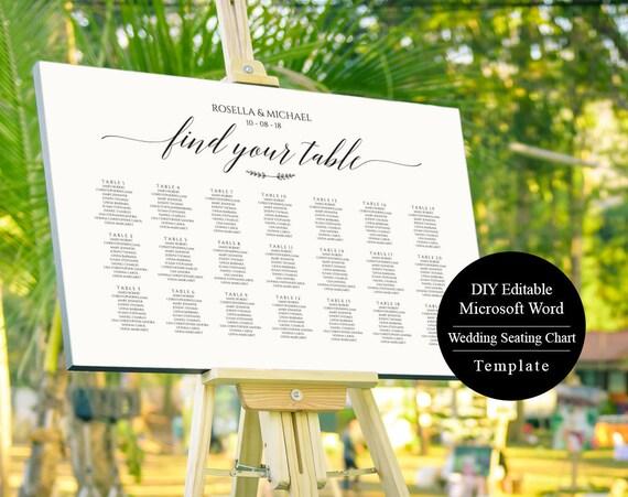 Seating Chart Wedding Poster Printable