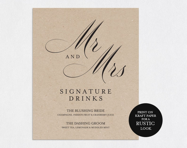 Signature Drinks Printable PDF Download Signature Drink Sign Signature Cocktails WPC/_90SD4A Wedding Bar Sign Wedding Reception Sign