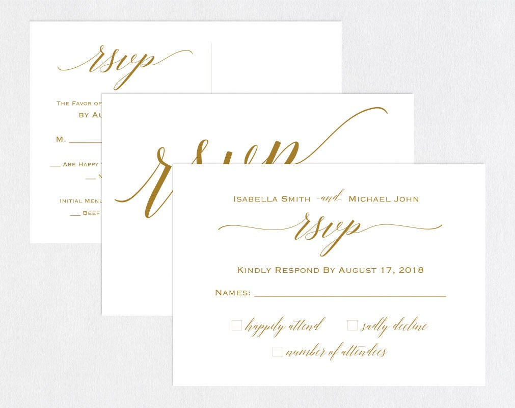 Wedding Invitations With Rsvp Postcards: Gold RSVP Postcards Templates Wedding Rsvp Cards Rsvp