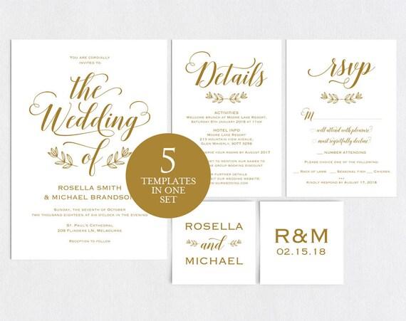 Gold Wedding Invitation Template Wedding Invitation Template