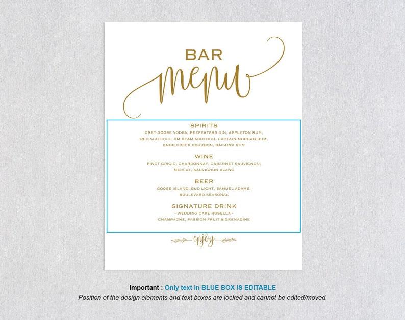 Gold Bar Menu Template, Bar Menu, Bar Menu Printable, Bar Menu Wedding,  Drink Menu, Menu Sign, Menu Card, Menu Template, Bar Sign, WPC_364