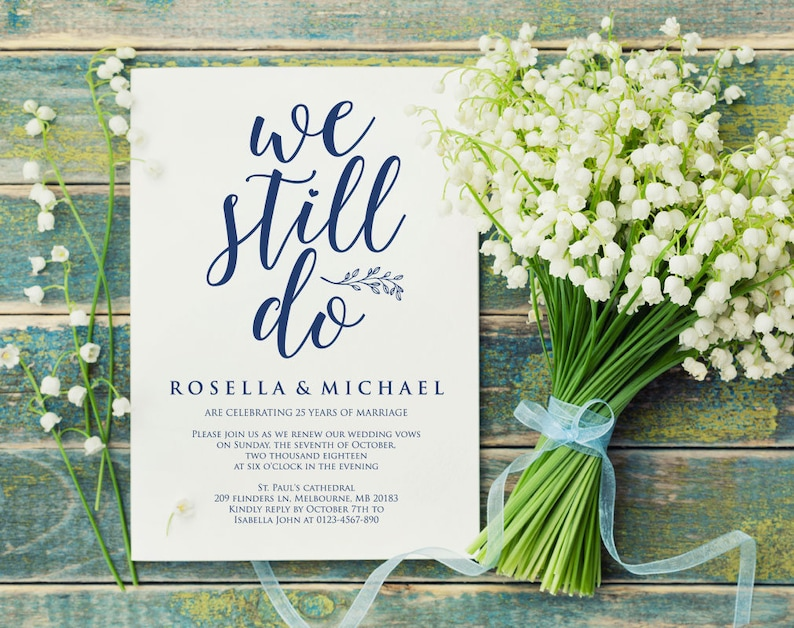 Calligraphy Editable Printable Invite We Do Again Wedding Anniversary Navy Blue Vow Renewal Invitation Template WPC/_1226