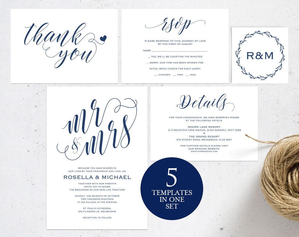 Navy Blue Wedding Invitations: Navy Blue Wedding Invitation Template Wedding Invitation