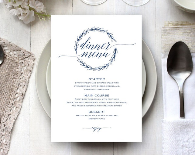 Navy Blue Wedding Menu Template, Wedding Dinner Menu, Wedding Menu, Menu Cards, Menu Printable, Wedding, PDF Instant Download, WPC_371SD1B