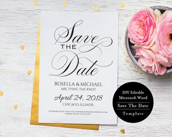 Printable Save the Date Template, Editable Save the Date Digital Download, Save Our Date, Modern Save the Date, MS Word, MSW209