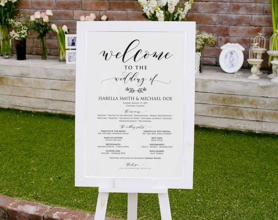 Large Wedding Program Sign Templates Welcome