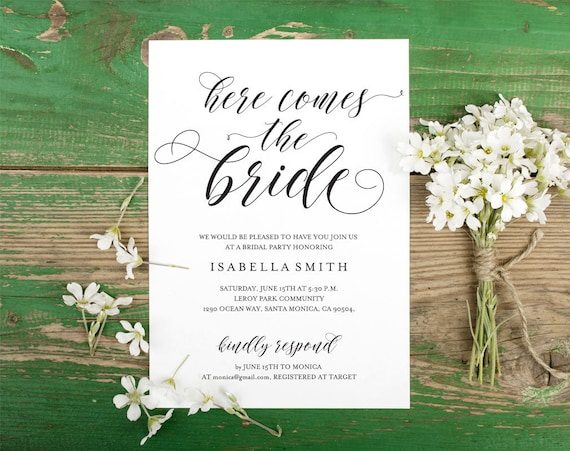 Bridal Shower Invitation, Wedding Shower Invitation, Bridal Shower Invites, the future mrs, here comes the bride, WPC_780SD3A
