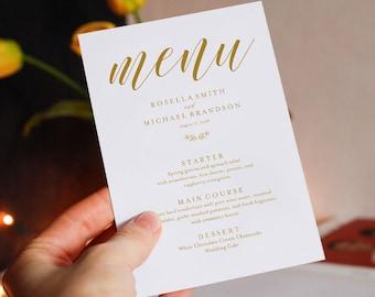 Gold Wedding Menu Template, Wedding Dinner Menu, Wedding Menu, Menu Cards, Menu Printable, Wedding, PDF Instant Download, WPC_370