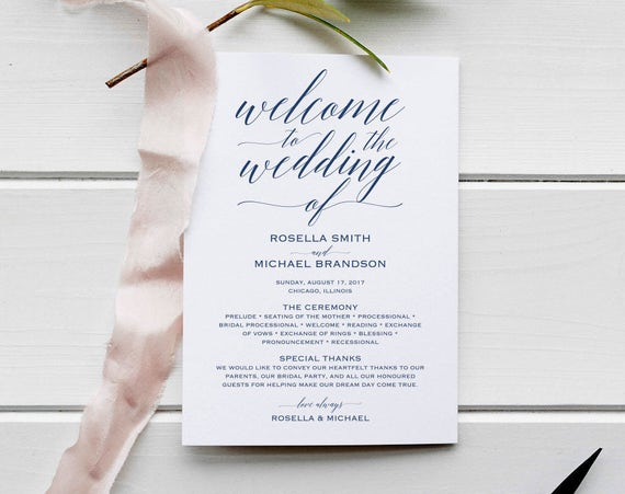 navy blue wedding program template rustic wedding ceremony etsy