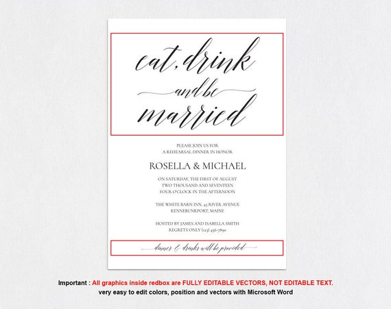 picture relating to Printable Rehearsal Dinner Invitations known as Rehearsal Evening meal Invitation Quick Down load, Rehearsal
