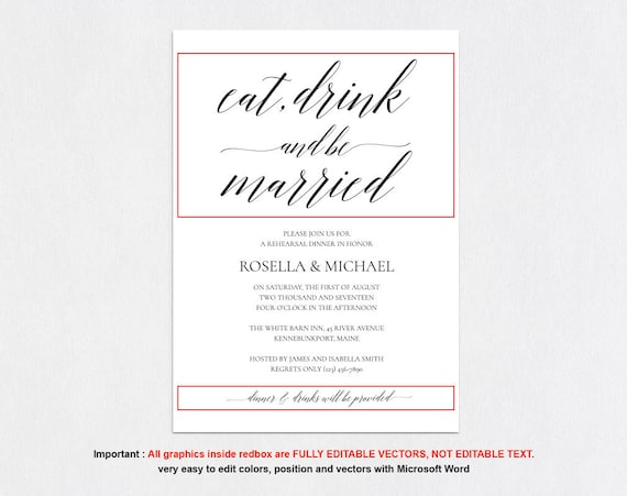 photograph regarding Printable Rehearsal Dinner Invitations known as Rehearsal Meal Invitation Fast Obtain, Rehearsal