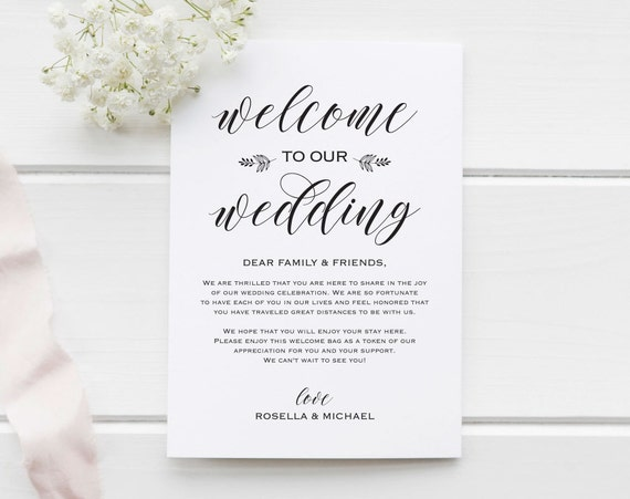 Wedding Welcome Bag Note Welcome Bag Letter Wedding Etsy
