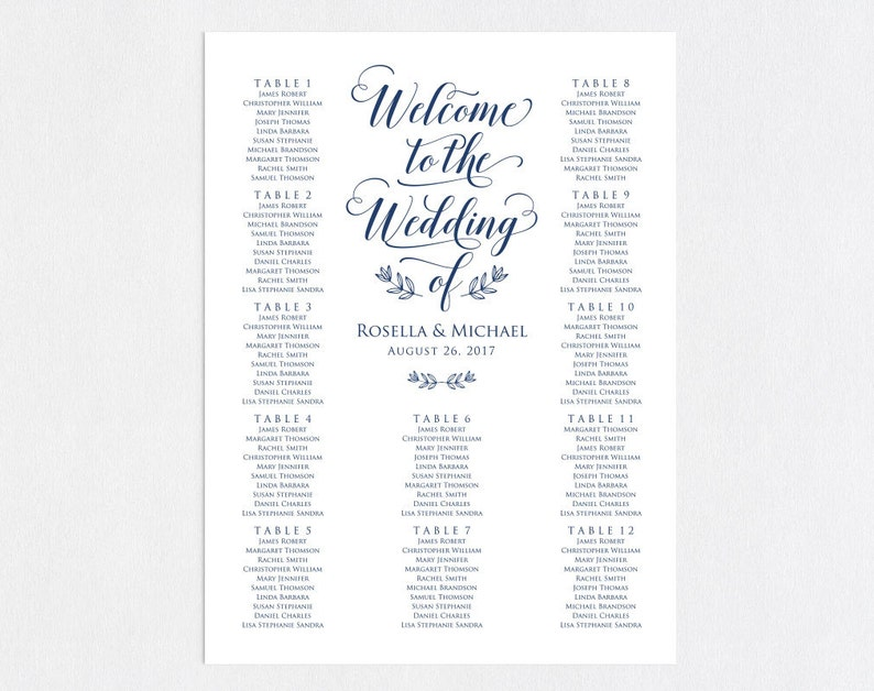 WPC/_494 Seating Chart Template Navy Blue Wedding seating chart printable seating chart engagement seating chart Find your seat sign