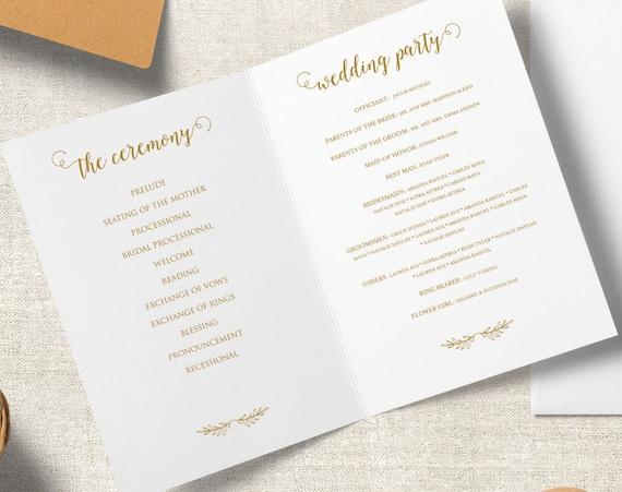 Gold Folded Wedding Program Printable PDF