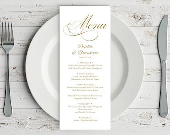 Gold Wedding Menu Template, Rustic Wedding Menu, Menu Printable, Menu Cards, Rustic Wedding, Wedding Dinner Menu, PDF Template, WPC_355