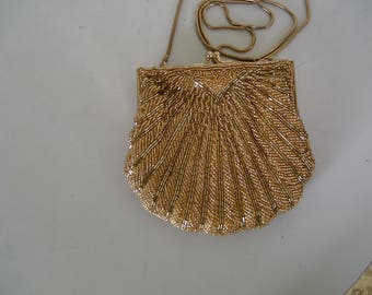 VINTAGE EVENING PURSE: gold, beaded shell design