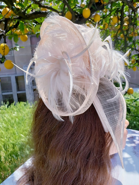 Nude Sinamay Fascinator Black Funeral Mini Hat Costume Feather Hairband Head Accessory.Headpiece Derby Race Bridal Church Hat