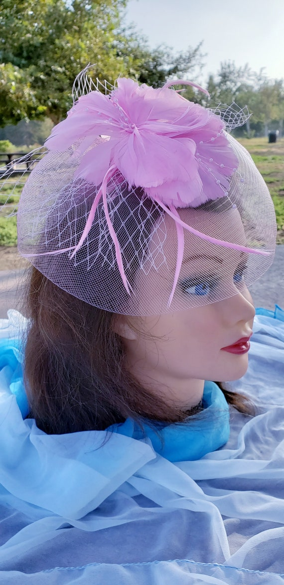 Women Net Feather Fascinator Headband Wedding Tea Party Derby Church Hat