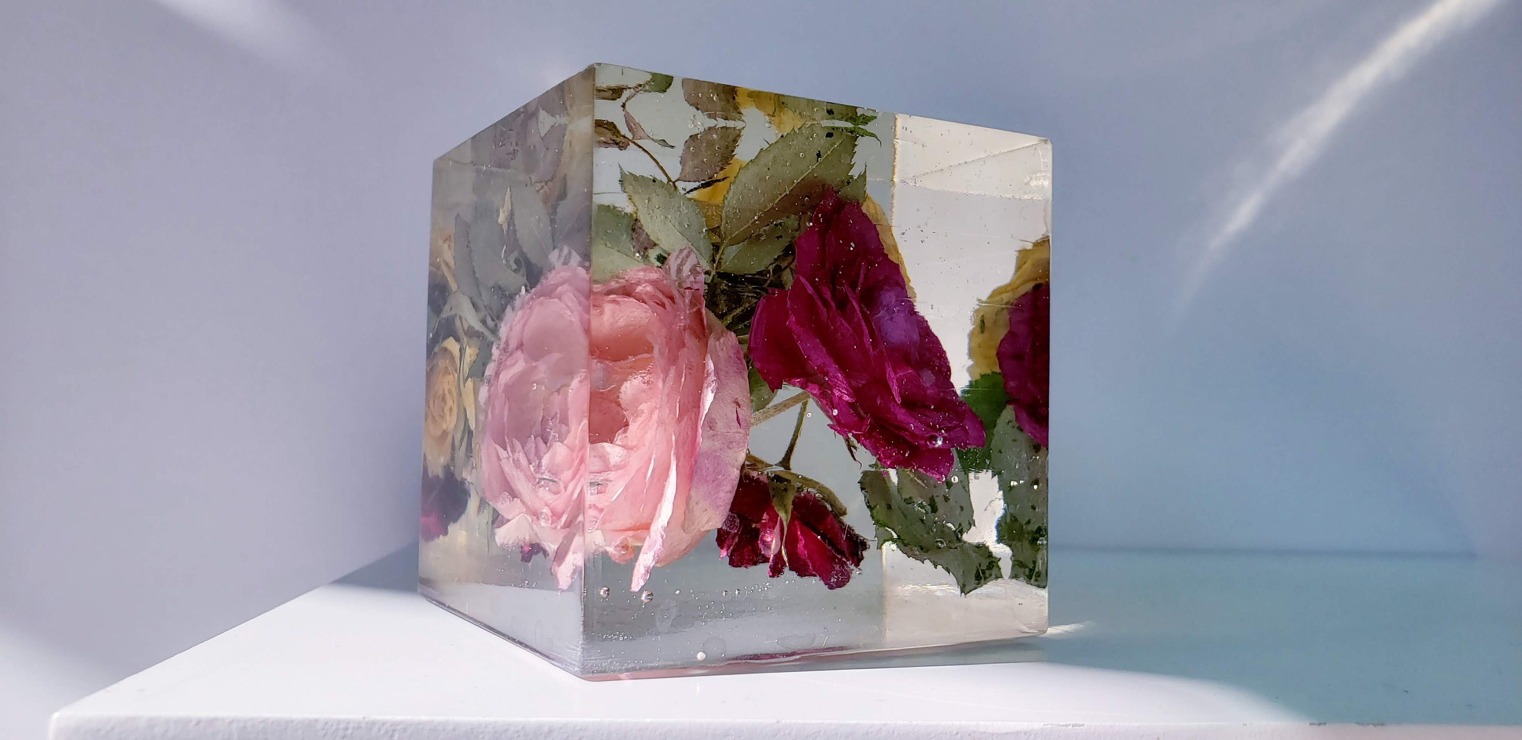Preserving Wedding Flowers In Large Resin Cube. Accepting