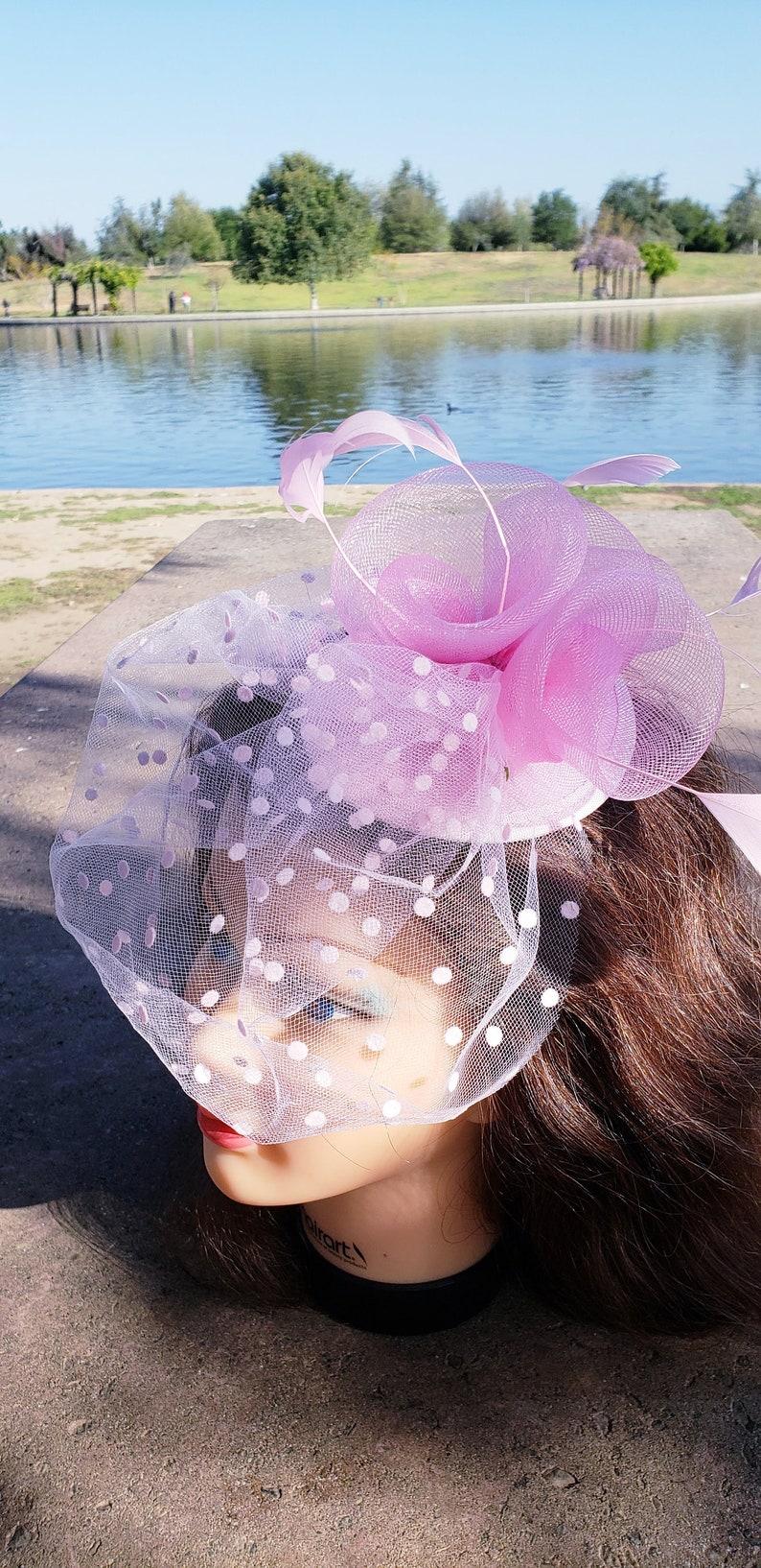 Wedding Tea Party Mini Hat.Costume Feather  Bird Cage Veil Hair Clip Head Accessory.Headpiece Pink Fascinator Derby Race Bridal Church Hat
